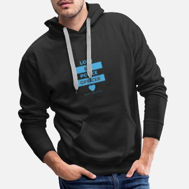 Staff Love my Police Officer black and blue text design - Men's Premium Hoodie