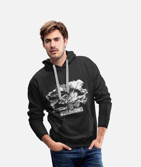 Poker Bluzy - World of Tanks Battlefield Men Longsleeve - Premium bluza męska z kapturem czarny