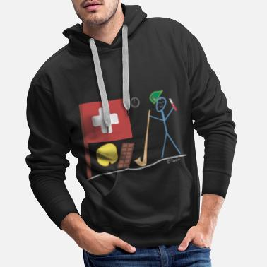 Central Europe Switzerland stick figure nation country Central Europe - Men's Premium Hoodie