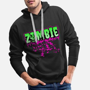 Rockabilly Zombie horror skull skulls drop monster - Men's Premium Hoodie
