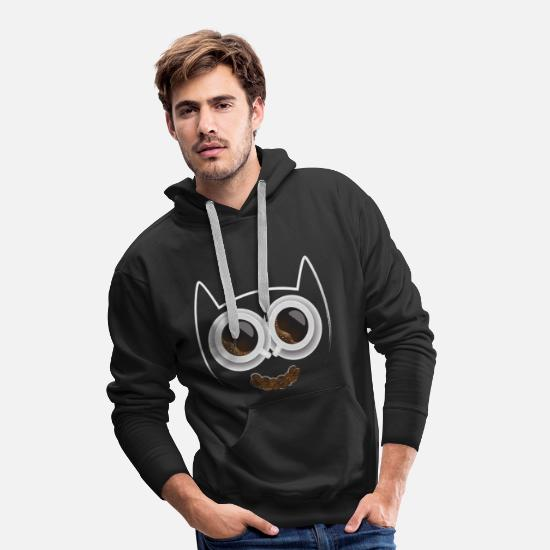 Doux Sweat-shirts - Café chat - Sweat à capuche premium Homme noir