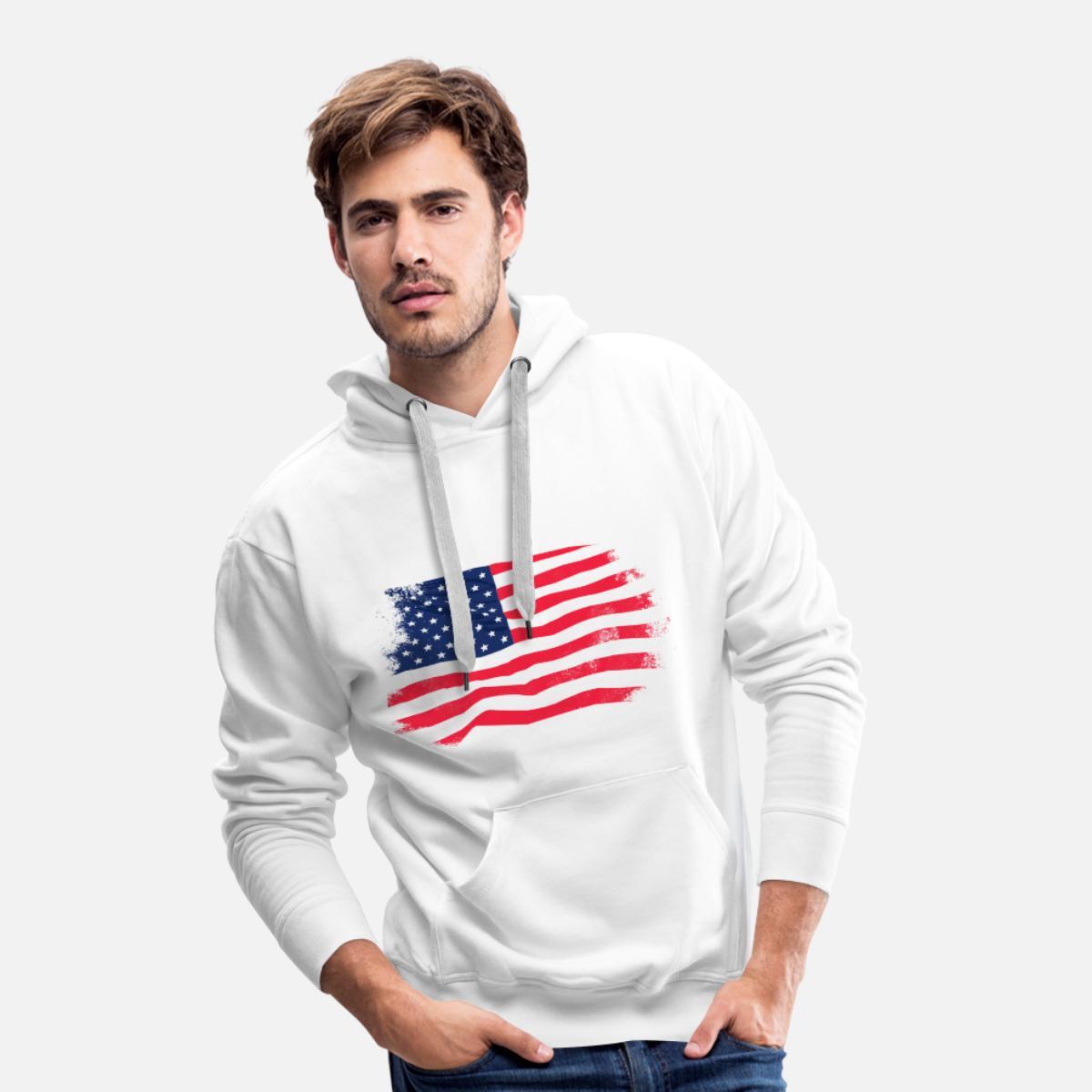 USA Flag Vintage Look Premiumluvtröja herr vit