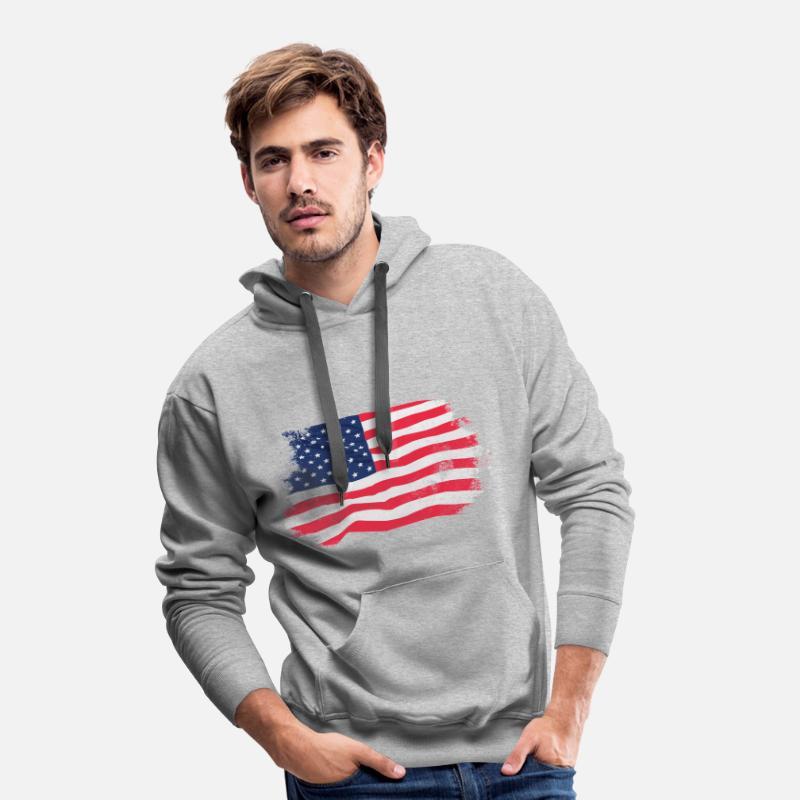 USA Flag Vintage Look Premiumluvtröja herr gråmelerad