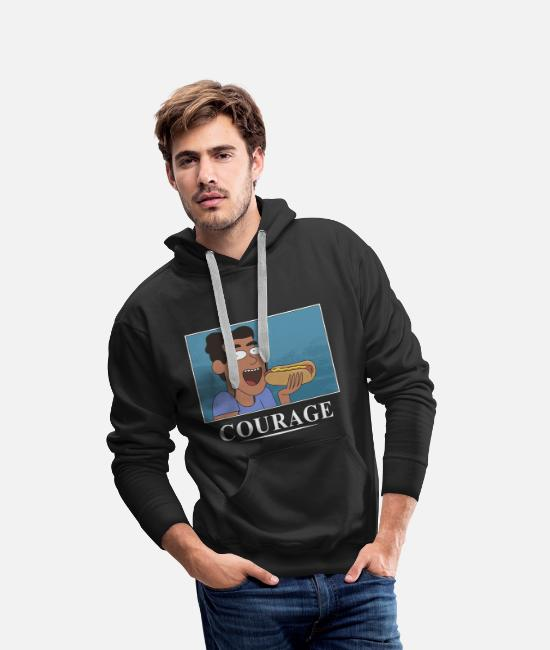 And Pullover & Hoodies - Rick And Morty Poster Courage Hot Dog - Männer Premium Hoodie Schwarz