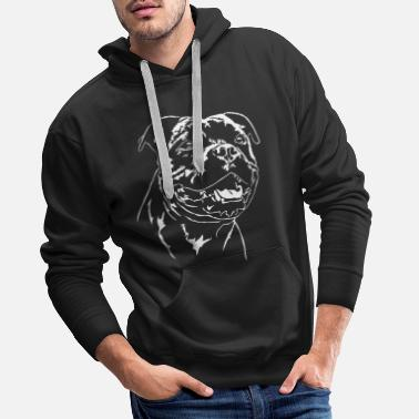 Staff STAFFORDSHIRE BULL TERRIER smile Portrait Wilsigns - Men's Premium Hoodie