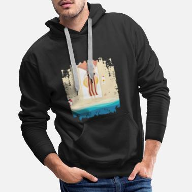 Relaxe Fried egg bacon sun sea beach funny - Men's Premium Hoodie