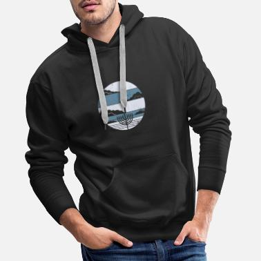 Menorah Happy Chanukah Sameach Hanukkia retro gift - Men's Premium Hoodie