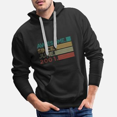 2001 Awesome Since June 2001 Birthday Gift - Men's Premium Hoodie