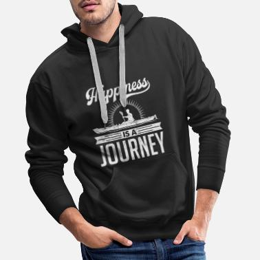 Graphic Kayak Happiness is a Journey Distressed Tshirt - Men's Premium Hoodie