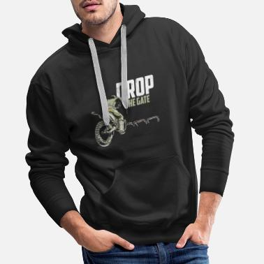 Anniversario Maglietta Dirt Bike grafica Motocross Drop The Gate - Felpa con cappuccio premium uomo