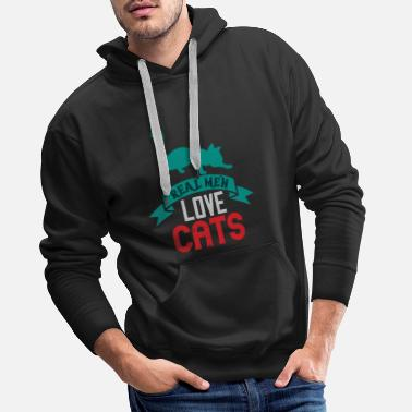 États-unis Funny Black T-shirt Real Man Love Cats - Sweat à capuche premium Homme