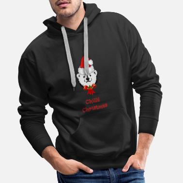 Bell Frosty Christmas - Polar Bear wishes for Christmas - Men's Premium Hoodie