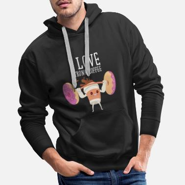 Fitness I Love Strong Coffee - Lifiting Donuts - Sweat à capuche premium Homme