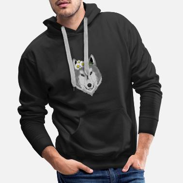 Head Cute wolf with flowers gift I wolves wilderness - Men's Premium Hoodie