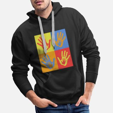 Pop Art Hands Birthday Family Baby Shower Nacimiento - Sudadera con capucha premium hombre