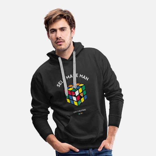 Geek Felpe - Rubik's Cube Self Made Man No Cheating - Felpa con cappuccio premium uomo nero