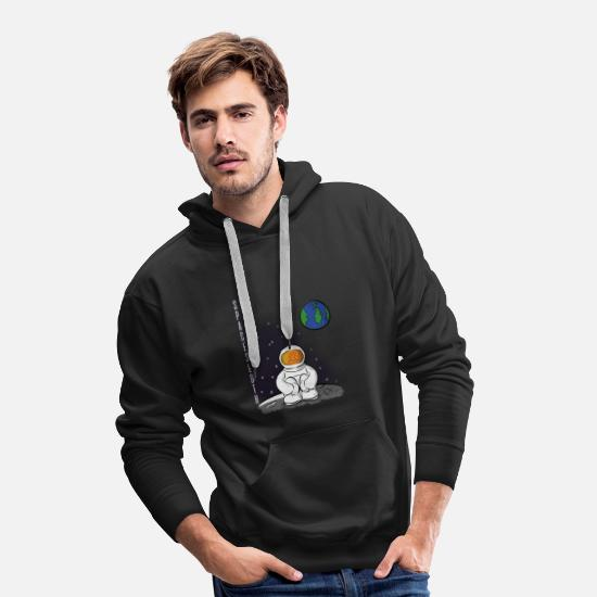 System Hoodies & Sweatshirts - Sloth Earth Astronaut Moon - Men's Premium Hoodie black