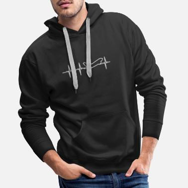 Prop Airplane Heartbeat Pilot Flying Plane Aviation - Men's Premium Hoodie