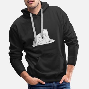 Polar bear with young 2 - Men's Premium Hoodie