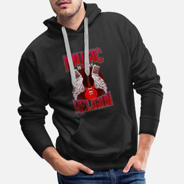 Music Is My Religion design Electric Guitar Mens - Men's Premium Hoodie