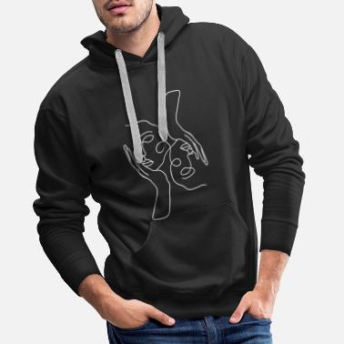 Trait Femmes visages dessin au trait minimaliste simple chic - Sweat à capuche premium Homme