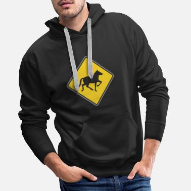 Road Running Road Sign running horse - Men's Premium Hoodie