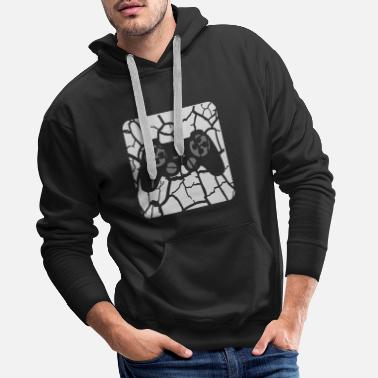 Scratch tears scratches button controller play logo design - Men's Premium Hoodie