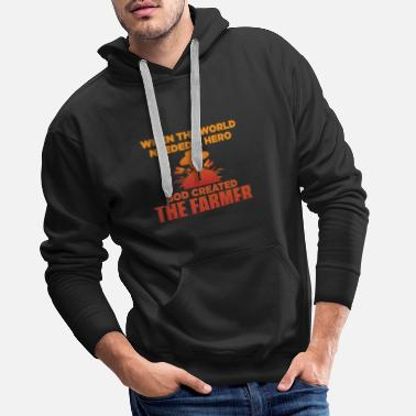 Young When The World Needed A Hero God Created Farmer - Men's Premium Hoodie