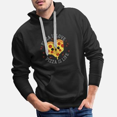 Restaurant Pizza is love Pizza is life - Salami Pizza Liebe - Men's Premium Hoodie