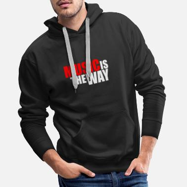 Music Is Life MUSIC IS THE WAY RED/WHITE - Männer Premium Hoodie