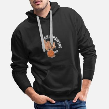 Wit Funny Knit Craft Art Cute Cat Crocheting Yarn - Men's Premium Hoodie