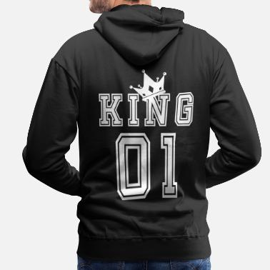King Queen Valentine's Day Matching Couples King Jersey - Premium hettegenser for menn