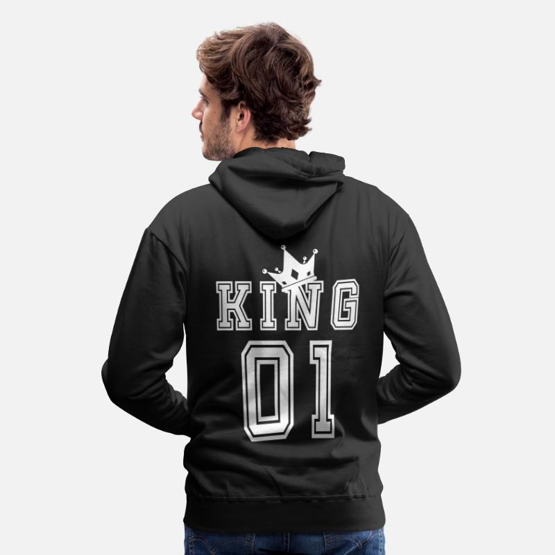 King Hoodies & Sweatshirts - Valentine's Day Matching Couples King Jersey - Men's Premium Hoodie black