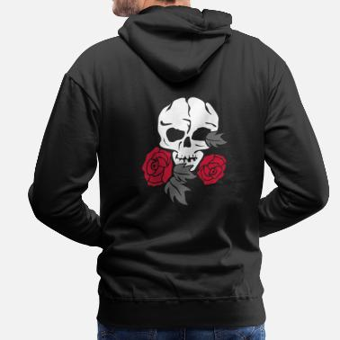 Róża skull and rose - Bluza męska Premium z kapturem