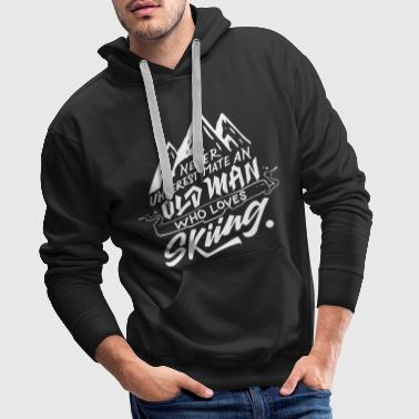 Typography Design - ...Old Man Who Loves Skiing - Premiumluvtröja herr
