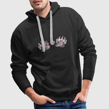 Paw paw claw pastel watercolor with heart love - Men's Premium Hoodie
