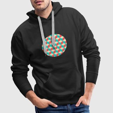Cool Blocks Circle Optical Illusion Abstract - Mannen Premium hoodie