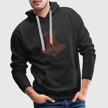 Thor Hammer mjolnir tshirt Vikings in red heathen - Men's Premium Hoodie