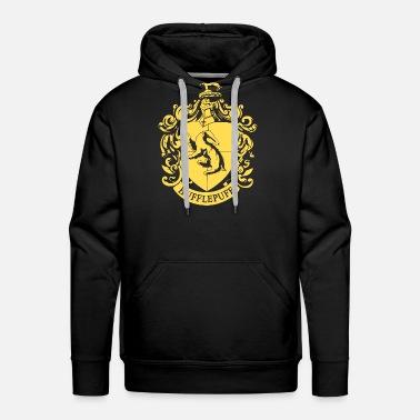 Harry Potter Emblème Hufflepuff Sweat shirt à capuche Premium pour hommes noir