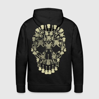 Musical Intruments Skull Silhoette - Men's Premium Hoodie