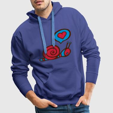 snail in love fun cupid couple - Sweat-shirt à capuche Premium pour hommes