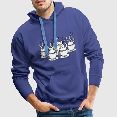 many party friends serving cake glass cup te - Men's Premium Hoodie