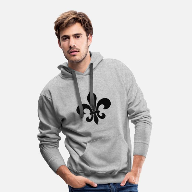 5ddc5b36eddbf Fleur de lis Sweat à capuche premium Homme   Spreadshirt