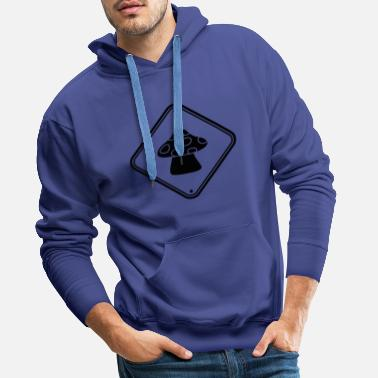 Mushroom caution caution note zone sign points fly - Men's Premium Hoodie