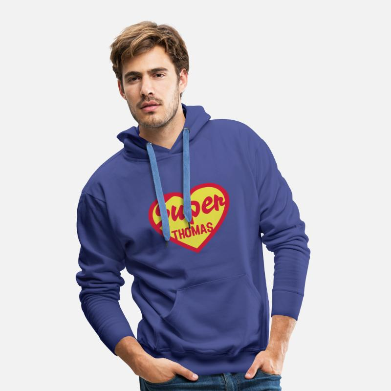 Cœur Sweat-shirts - thomas super coeur heart love - Sweat à capuche premium Homme bleu royal