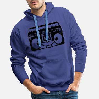 Cartoon Character Ghettoblaster comic face cartoon music player r - Men's Premium Hoodie