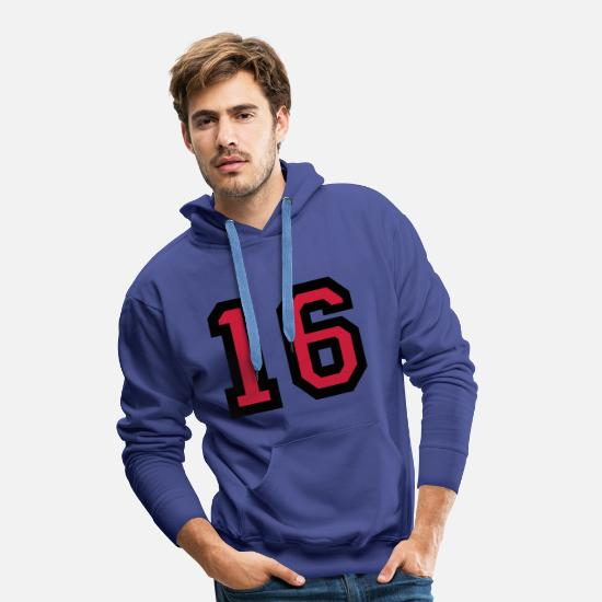 Sweet Hoodies & Sweatshirts - The number 16 - number sixteen - Men's Premium Hoodie royal blue