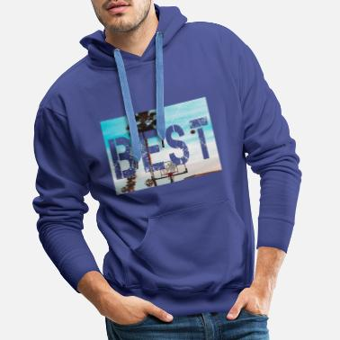 Best letter with landscape background - Men's Premium Hoodie
