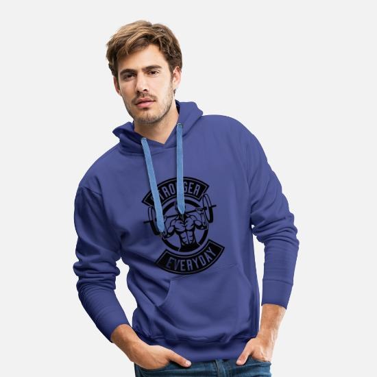 Pomper Sweat-shirts - Plus fort que tout - Sweat à capuche premium Homme bleu royal