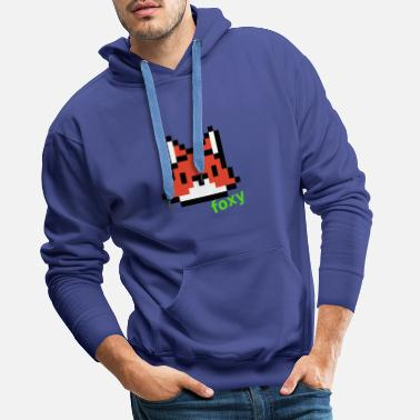 Graphic Picture Computer Pixel Fox (green) - Men's Premium Hoodie